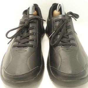 Black Leather Slip Resistant 5 Eye Oxford Shoes